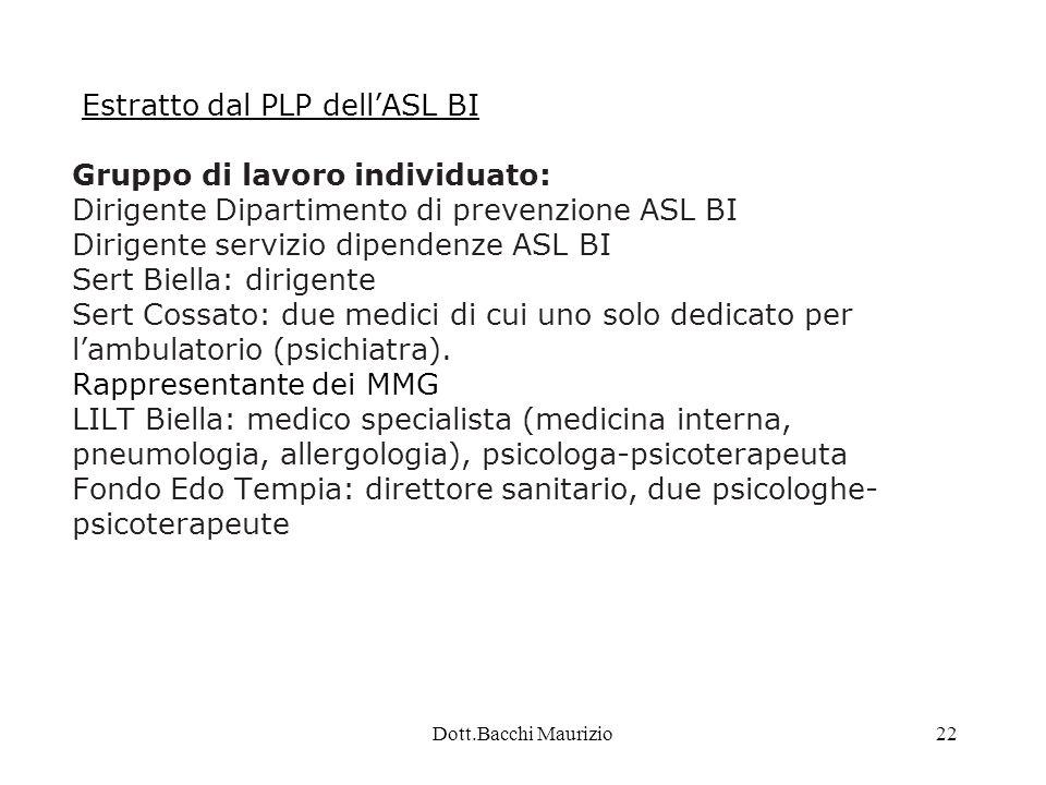 Dott.Bacchi Maurizio22 Estratto dal PLP dell'ASL BI Gruppo di lavoro individuato: Dirigente Dipartimento di prevenzione ASL BI Dirigente servizio dipendenze ASL BI Sert Biella: dirigente Sert Cossato: due medici di cui uno solo dedicato per l'ambulatorio (psichiatra).