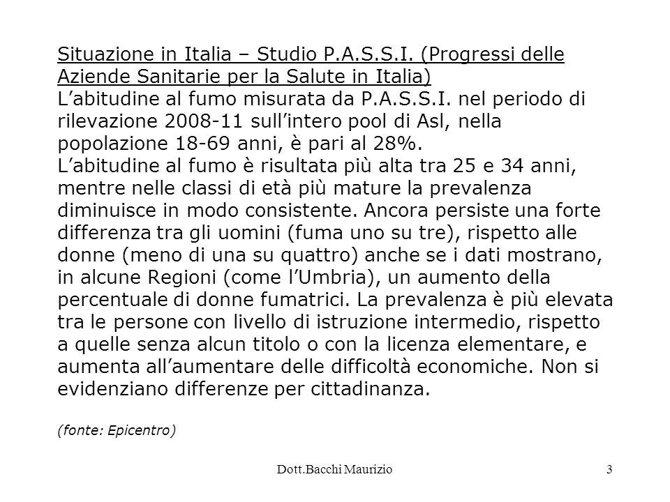 Dott.Bacchi Maurizio24 Estratto dal PLP dell'ASL BI Operatività dei singoli CTT SERT Cossato: Trattamento integrato con counselling.