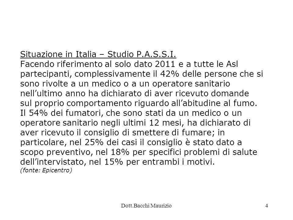 Dott.Bacchi Maurizio5 Situazione in Piemonte – Progetto P.A.S.S.I.