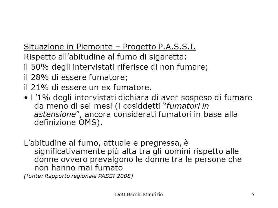 Dott.Bacchi Maurizio6 Dati - Piemonte La prevalenza varia in base al titolo di studio e alla categoria sociale, in linea con il dato nazionale.