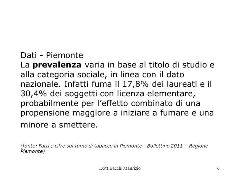 Dott.Bacchi Maurizio7 Dati - Piemonte La prevalenza di fumatori e ' diminuita lentamente fino agli anni ottanta, per poi fermarsi e ulteriormente riprendere a scendere negli ultimi anni.