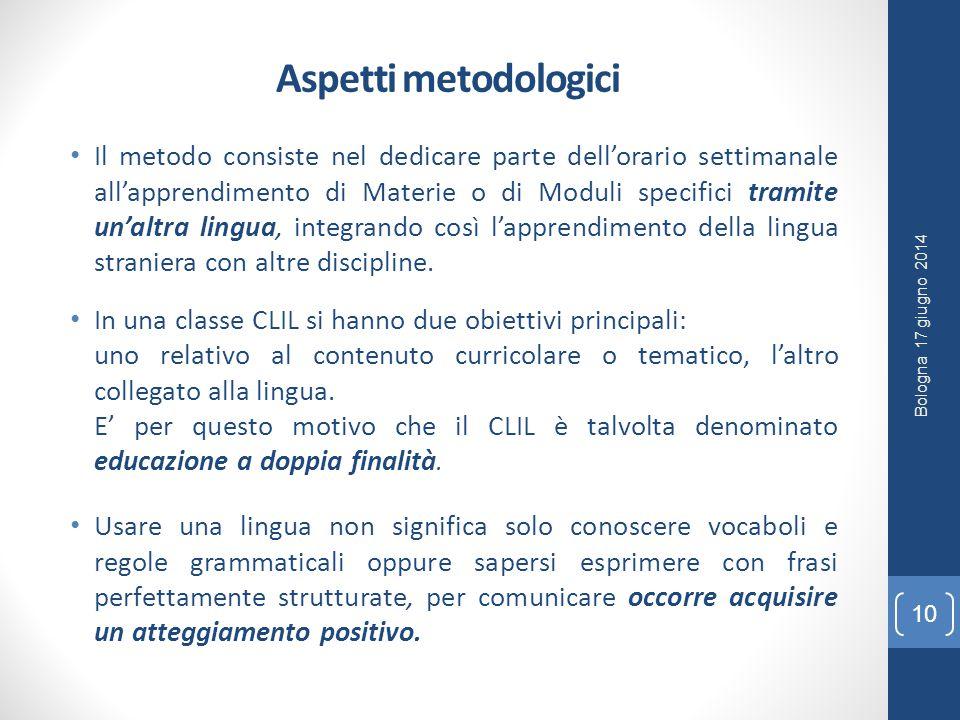 Aspetti metodologici Il metodo consiste nel dedicare parte dell'orario settimanale all'apprendimento di Materie o di Moduli specifici tramite un'altra lingua, integrando così l'apprendimento della lingua straniera con altre discipline.