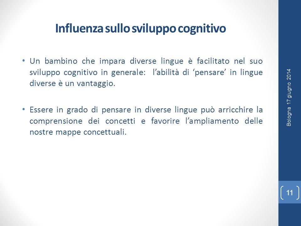 Influenza sullo sviluppo cognitivo Un bambino che impara diverse lingue è facilitato nel suo sviluppo cognitivo in generale: l'abilità di 'pensare' in