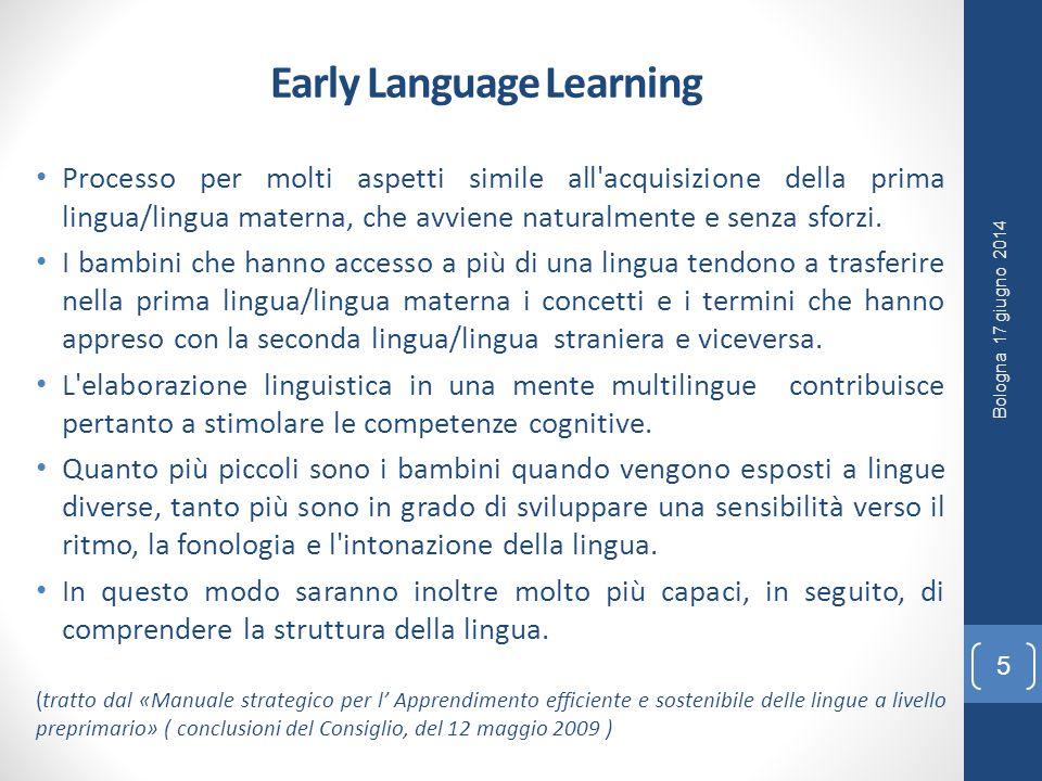 Early Language Learning Processo per molti aspetti simile all acquisizione della prima lingua/lingua materna, che avviene naturalmente e senza sforzi.