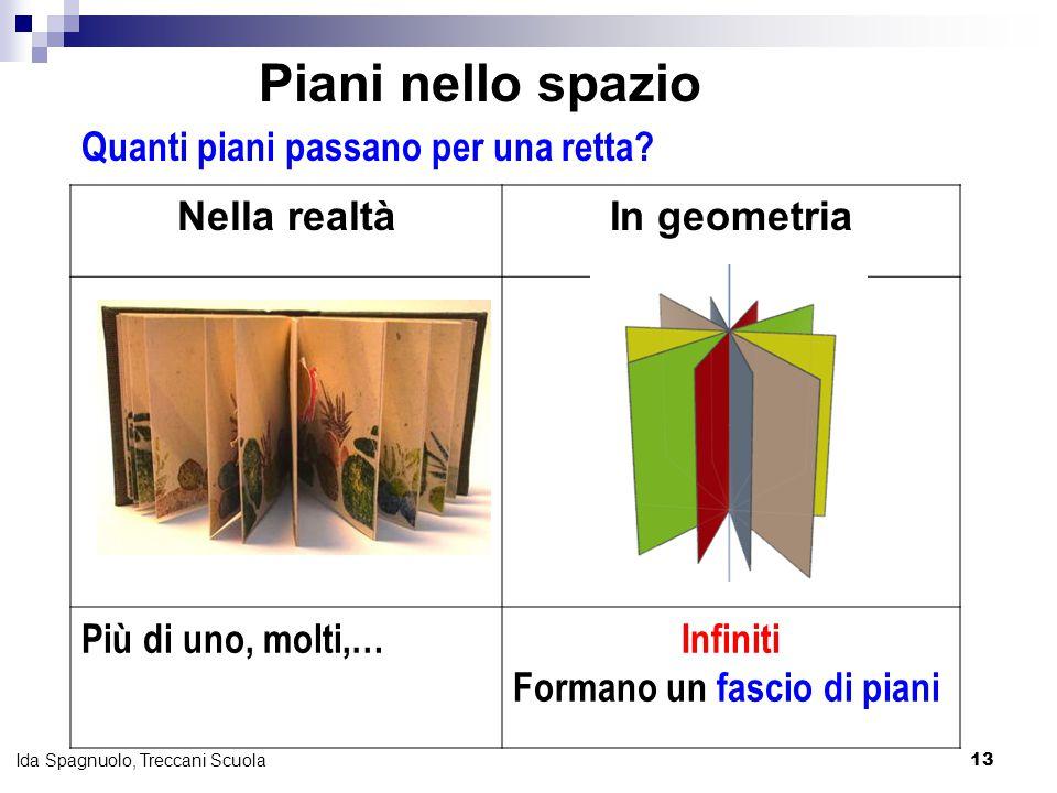 13 Ida Spagnuolo, Treccani Scuola Nella realtàIn geometria Più di uno, molti,…Infiniti Formano un fascio di piani Quanti piani passano per una retta?