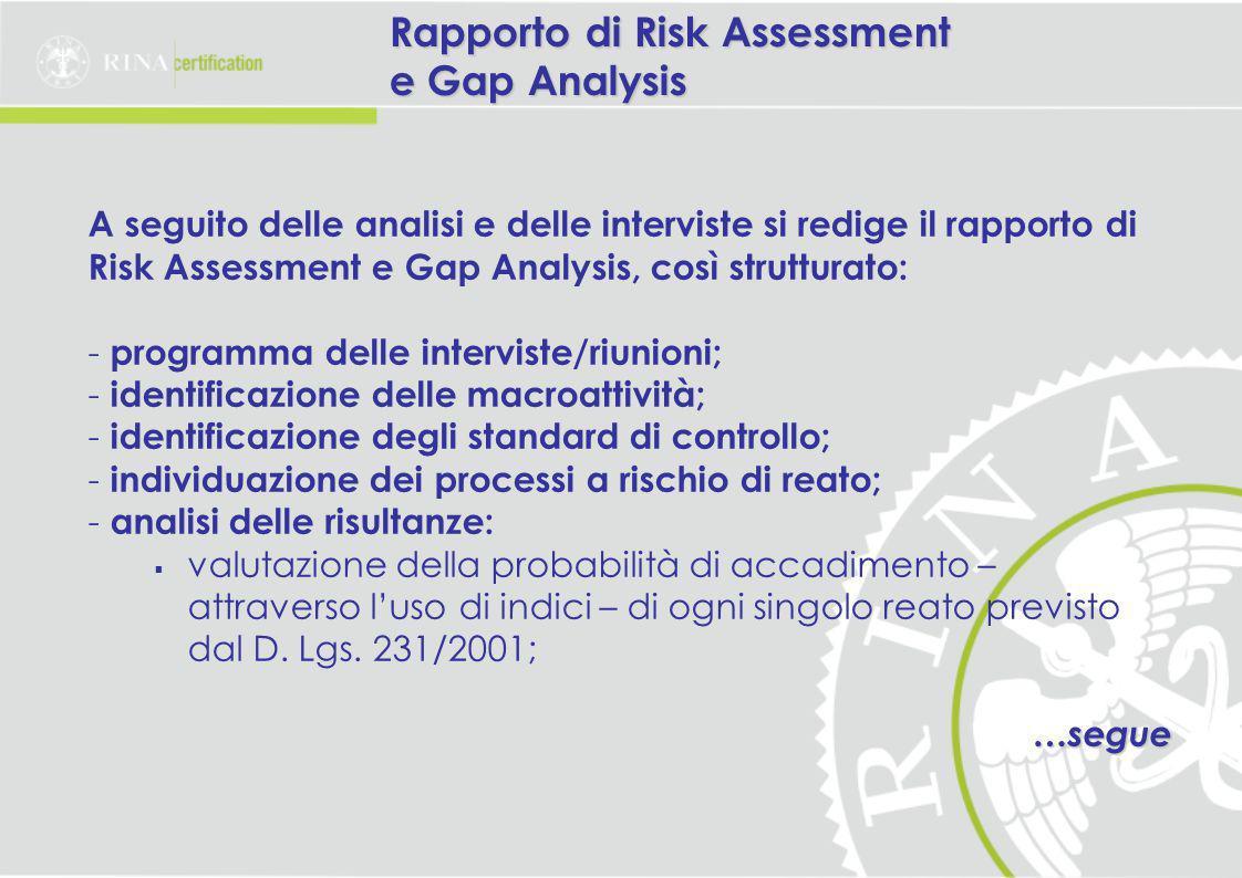 Rapporto di Risk Assessment e Gap Analysis A seguito delle analisi e delle interviste si redige il rapporto di Risk Assessment e Gap Analysis, così strutturato: - programma delle interviste/riunioni; - identificazione delle macroattività; - identificazione degli standard di controllo; - individuazione dei processi a rischio di reato; - analisi delle risultanze:  valutazione della probabilità di accadimento – attraverso l'uso di indici – di ogni singolo reato previsto dal D.
