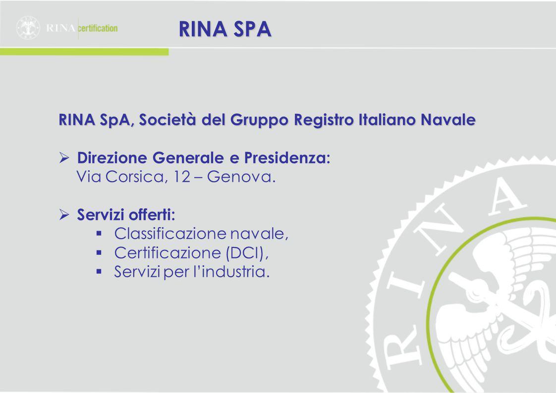 RINA SpA, Società del Gruppo Registro Italiano Navale  Direzione Generale e Presidenza: Via Corsica, 12 – Genova.