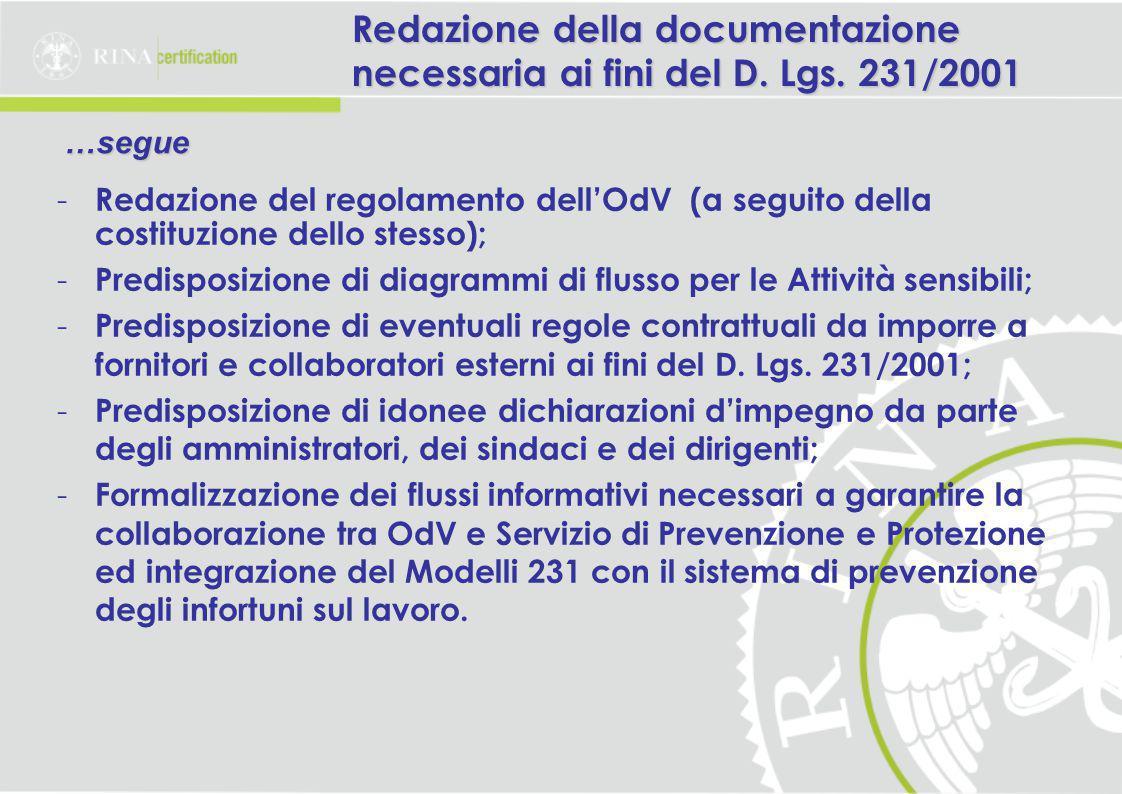 Redazione della documentazione necessaria ai fini del D.