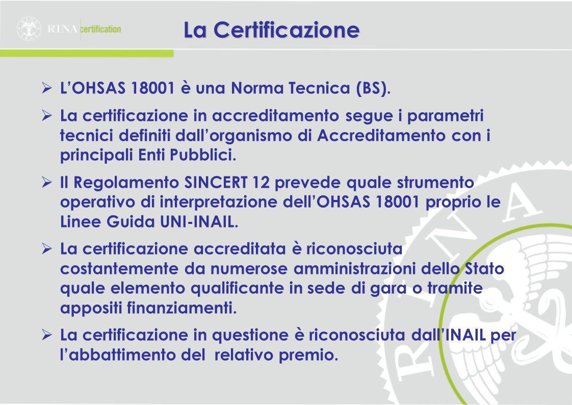 La Certificazione  L'OHSAS 18001 è una Norma Tecnica (BS).