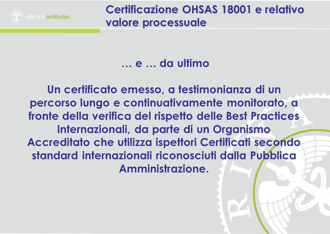 … e … da ultimo Un certificato emesso, a testimonianza di un percorso lungo e continuativamente monitorato, a fronte della verifica del rispetto delle Best Practices Internazionali, da parte di un Organismo Accreditato che utilizza ispettori Certificati secondo standard internazionali riconosciuti dalla Pubblica Amministrazione.