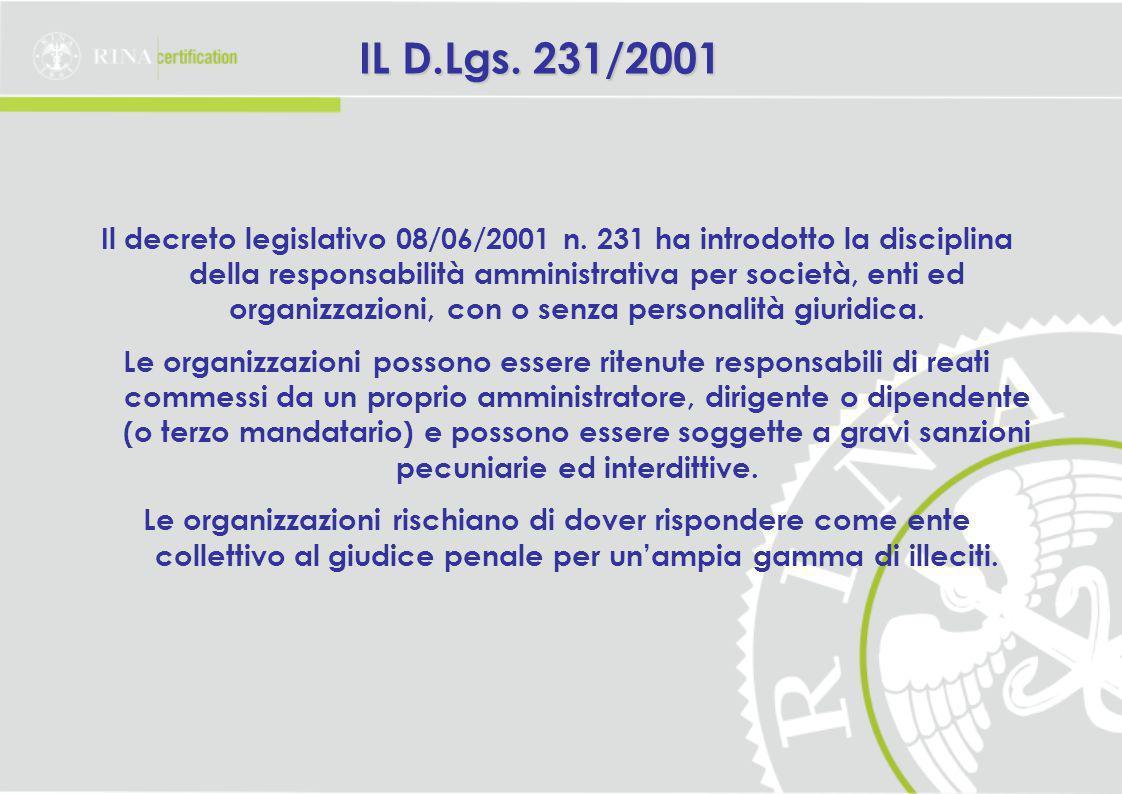 IL D.Lgs.231/2001 Il decreto legislativo 08/06/2001 n.