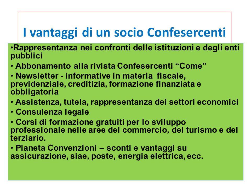 """I vantaggi di un socio Confesercenti Rappresentanza nei confronti delle istituzioni e degli enti pubblici Abbonamento alla rivista Confesercenti """"Come"""