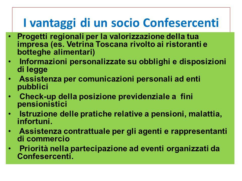 I vantaggi di un socio Confesercenti Progetti regionali per la valorizzazione della tua impresa (es. Vetrina Toscana rivolto ai ristoranti e botteghe