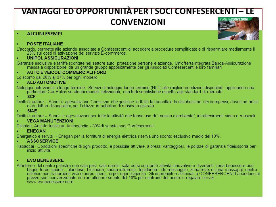 VANTAGGI ED OPPORTUNITÀ PER I SOCI CONFESERCENTI – LE CONVENZIONI ALCUNI ESEMPI POSTE ITALIANE L'accordo, permette alle aziende associate a Confeserce