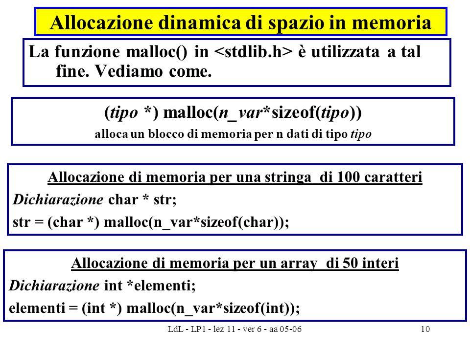 LdL - LP1 - lez 11 - ver 6 - aa 05-0610 Allocazione dinamica di spazio in memoria La funzione malloc() in è utilizzata a tal fine. Vediamo come. Alloc