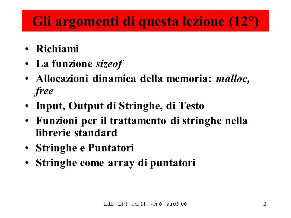 LdL - LP1 - lez 11 - ver 6 - aa 05-062 Gli argomenti di questa lezione (12°) Richiami La funzione sizeof Allocazioni dinamica della memoria: malloc, f