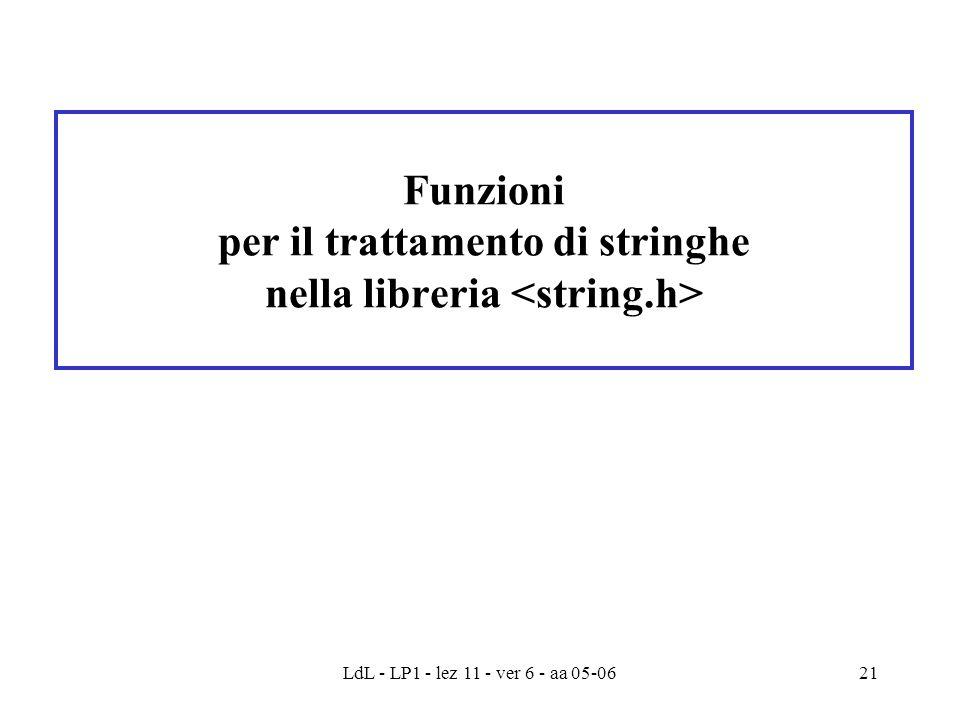 LdL - LP1 - lez 11 - ver 6 - aa 05-0621 Funzioni per il trattamento di stringhe nella libreria