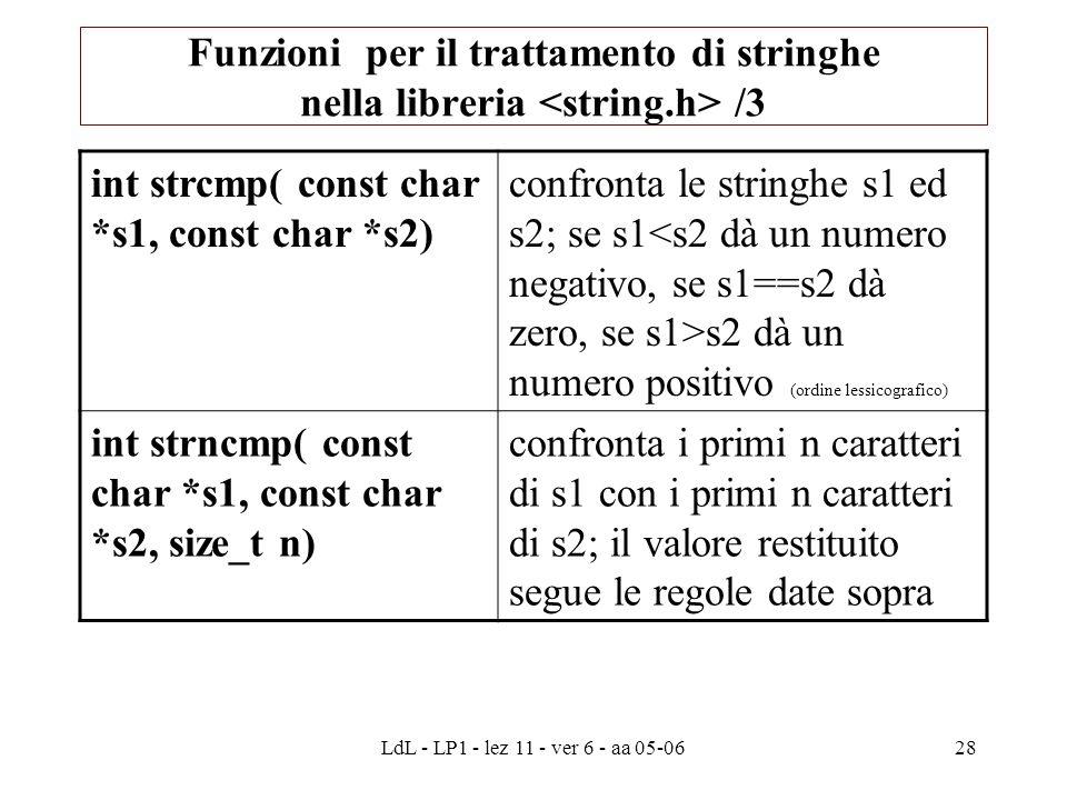 LdL - LP1 - lez 11 - ver 6 - aa 05-0628 int strcmp( const char *s1, const char *s2) confronta le stringhe s1 ed s2; se s1 s2 dà un numero positivo (ordine lessicografico) int strncmp( const char *s1, const char *s2, size_t n) confronta i primi n caratteri di s1 con i primi n caratteri di s2; il valore restituito segue le regole date sopra Funzioni per il trattamento di stringhe nella libreria /3