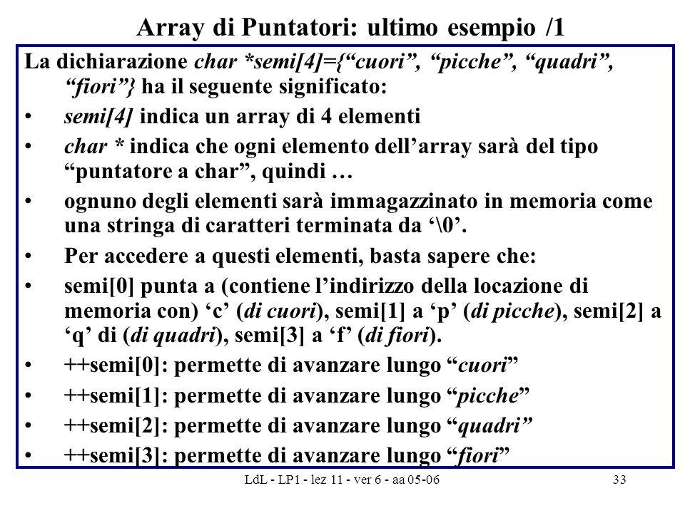 LdL - LP1 - lez 11 - ver 6 - aa 05-0633 Array di Puntatori: ultimo esempio /1 La dichiarazione char *semi[4]={ cuori , picche , quadri , fiori } ha il seguente significato: semi[4] indica un array di 4 elementi char * indica che ogni elemento dell'array sarà del tipo puntatore a char , quindi … ognuno degli elementi sarà immagazzinato in memoria come una stringa di caratteri terminata da '\0'.