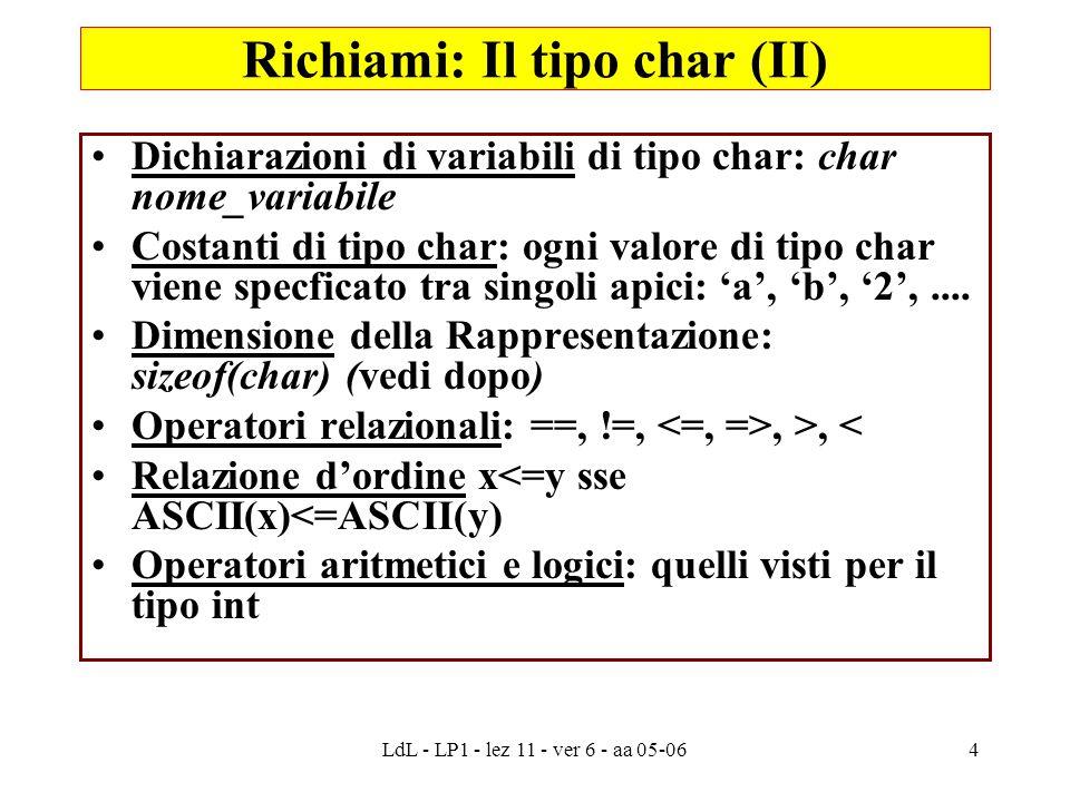 LdL - LP1 - lez 11 - ver 6 - aa 05-064 Dichiarazioni di variabili di tipo char: char nome_variabile Costanti di tipo char: ogni valore di tipo char viene specficato tra singoli apici: 'a', 'b', '2',....