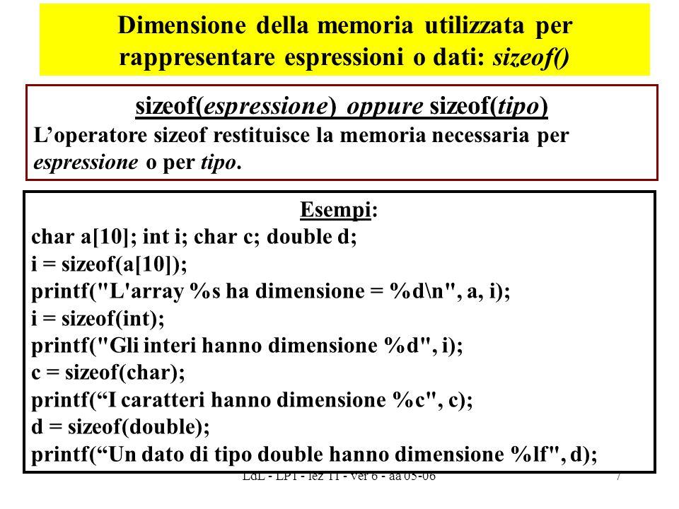 LdL - LP1 - lez 11 - ver 6 - aa 05-067 sizeof(espressione) oppure sizeof(tipo) L'operatore sizeof restituisce la memoria necessaria per espressione o per tipo.