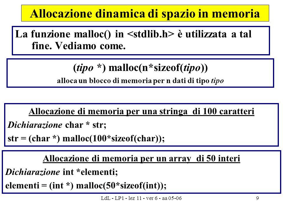 LdL - LP1 - lez 11 - ver 6 - aa 05-069 Allocazione dinamica di spazio in memoria La funzione malloc() in è utilizzata a tal fine.