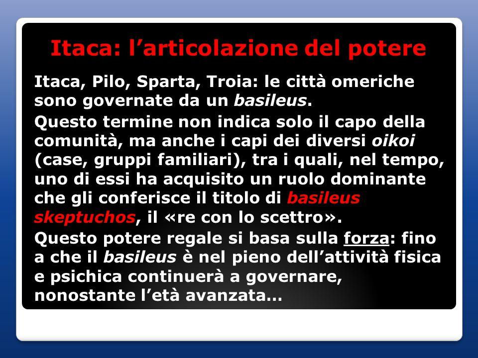 Itaca: l'articolazione del potere Itaca, Pilo, Sparta, Troia: le città omeriche sono governate da un basileus. Questo termine non indica solo il capo