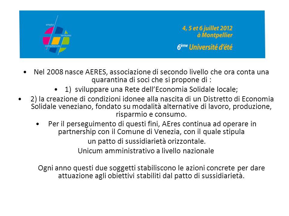 Nel 2008 nasce AERES, associazione di secondo livello che ora conta una quarantina di soci che si propone di : 1) sviluppare una Rete dell'Economia So