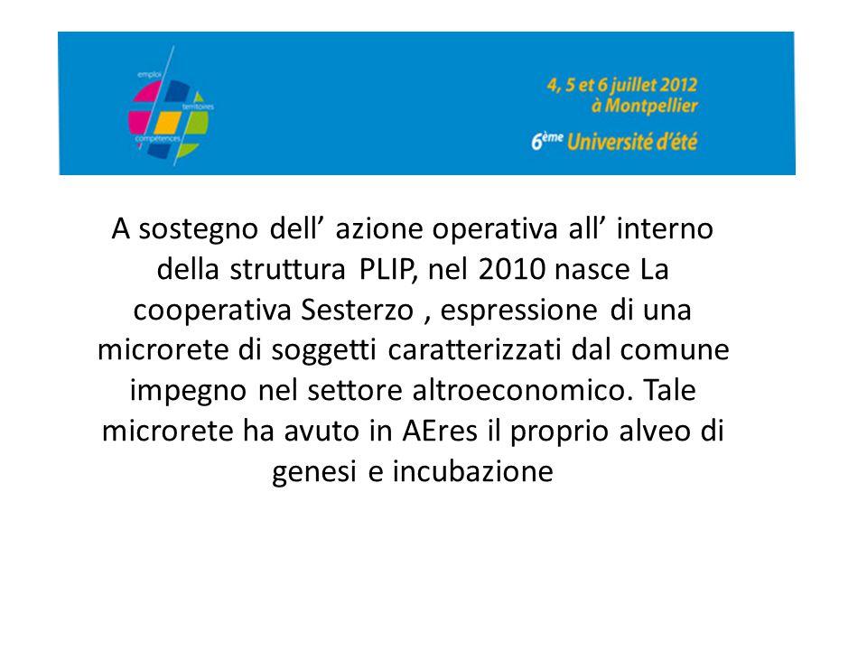 A sostegno dell' azione operativa all' interno della struttura PLIP, nel 2010 nasce La cooperativa Sesterzo, espressione di una microrete di soggetti