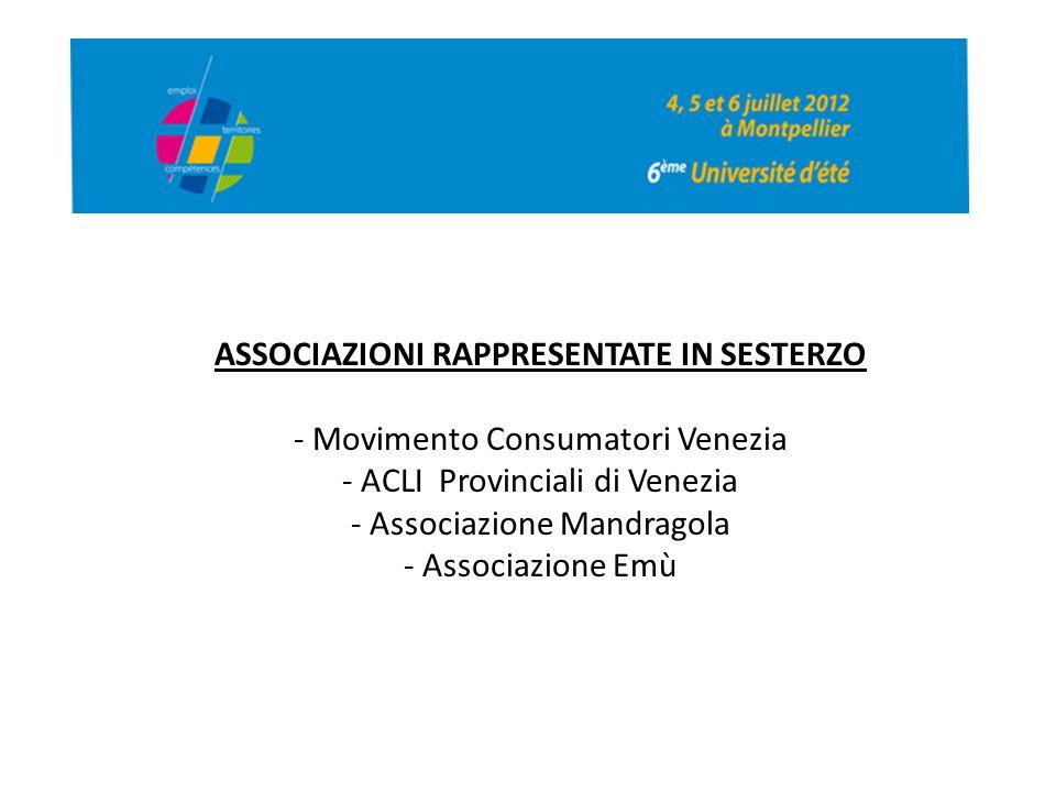 ASSOCIAZIONI RAPPRESENTATE IN SESTERZO - Movimento Consumatori Venezia - ACLI Provinciali di Venezia - Associazione Mandragola - Associazione Emù