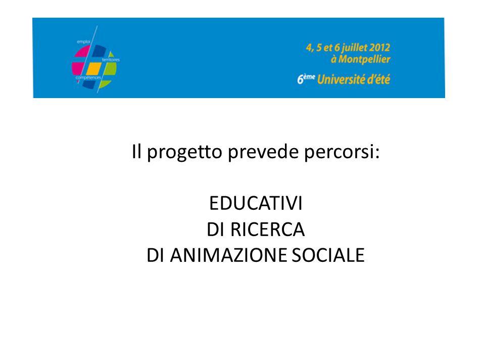 Il progetto prevede percorsi: EDUCATIVI DI RICERCA DI ANIMAZIONE SOCIALE