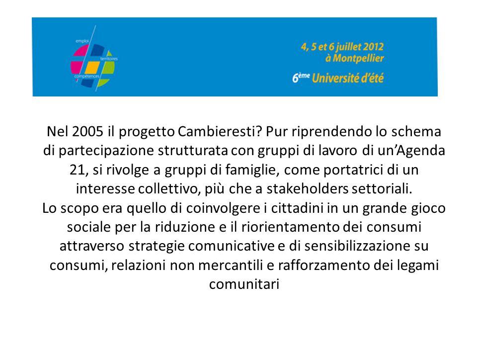 Nel 2005 il progetto Cambieresti? Pur riprendendo lo schema di partecipazione strutturata con gruppi di lavoro di un'Agenda 21, si rivolge a gruppi di