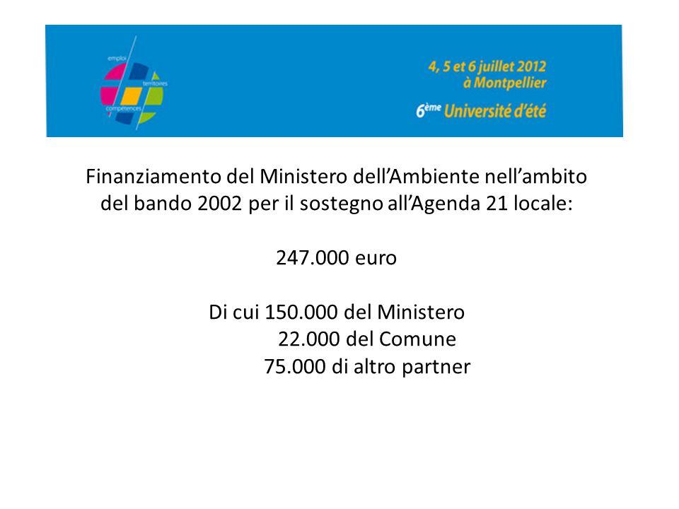 Finanziamento del Ministero dell'Ambiente nell'ambito del bando 2002 per il sostegno all'Agenda 21 locale: 247.000 euro Di cui 150.000 del Ministero 2