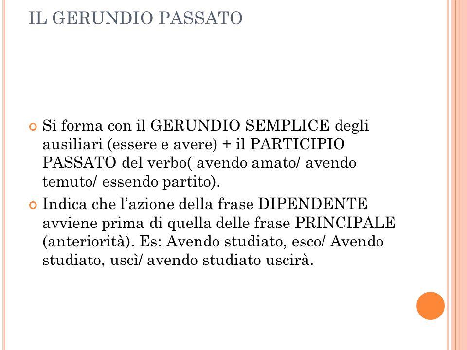 IL GERUNDIO PASSATO Si forma con il GERUNDIO SEMPLICE degli ausiliari (essere e avere) + il PARTICIPIO PASSATO del verbo( avendo amato/ avendo temuto/