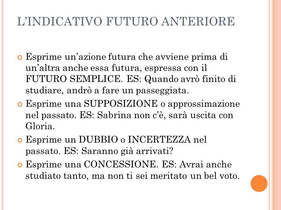 L'INDICATIVO FUTURO ANTERIORE Esprime un'azione futura che avviene prima di un'altra anche essa futura, espressa con il FUTURO SEMPLICE. ES: Quando av
