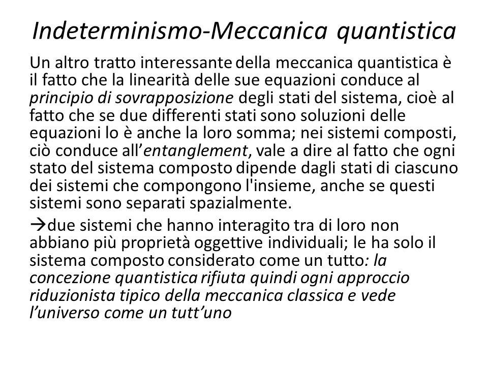 Indeterminismo-Meccanica quantistica Un altro tratto interessante della meccanica quantistica è il fatto che la linearità delle sue equazioni conduce