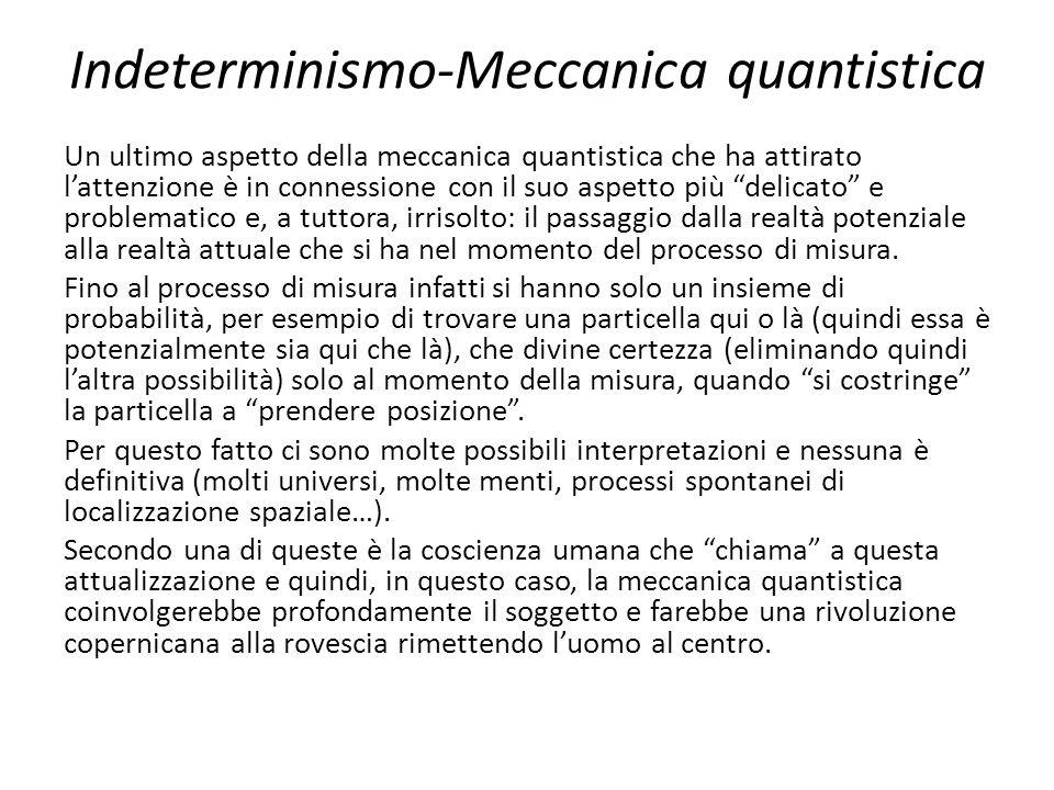 Indeterminismo-Meccanica quantistica Un ultimo aspetto della meccanica quantistica che ha attirato l'attenzione è in connessione con il suo aspetto pi