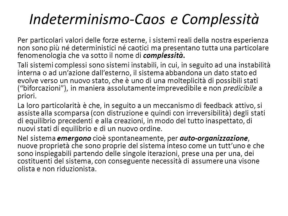 Indeterminismo-Caos e Complessità Per particolari valori delle forze esterne, i sistemi reali della nostra esperienza non sono più né deterministici n