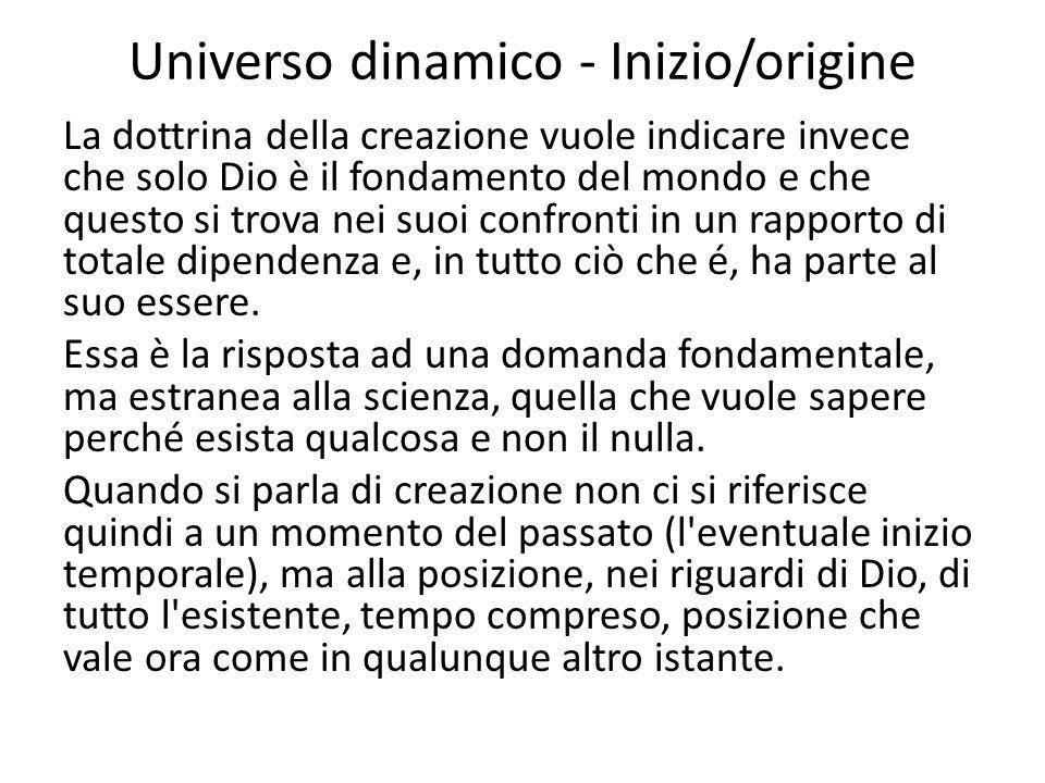 Universo dinamico - Inizio/origine La dottrina della creazione vuole indicare invece che solo Dio è il fondamento del mondo e che questo si trova nei
