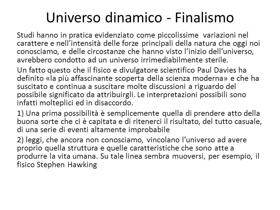 Universo dinamico - Finalismo Studi hanno in pratica evidenziato come piccolissime variazioni nel carattere e nell'intensità delle forze principali de