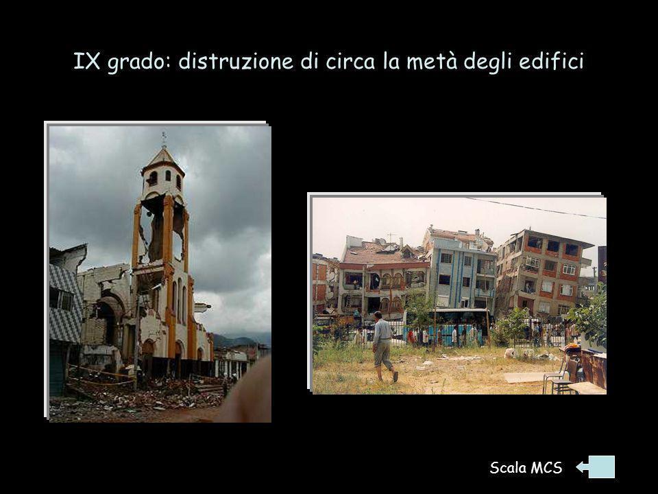 IX grado: distruzione di circa la metà degli edifici Terremoto 17/8/1999, Turchia occ. Terremoto 25/1/1999, Colombia Scala MCS