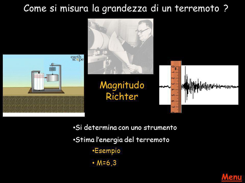 Come si misura la grandezza di un terremoto ? Magnitudo Richter Si determina con uno strumento Stima l'energia del terremoto Esempio M=6,3 Menu