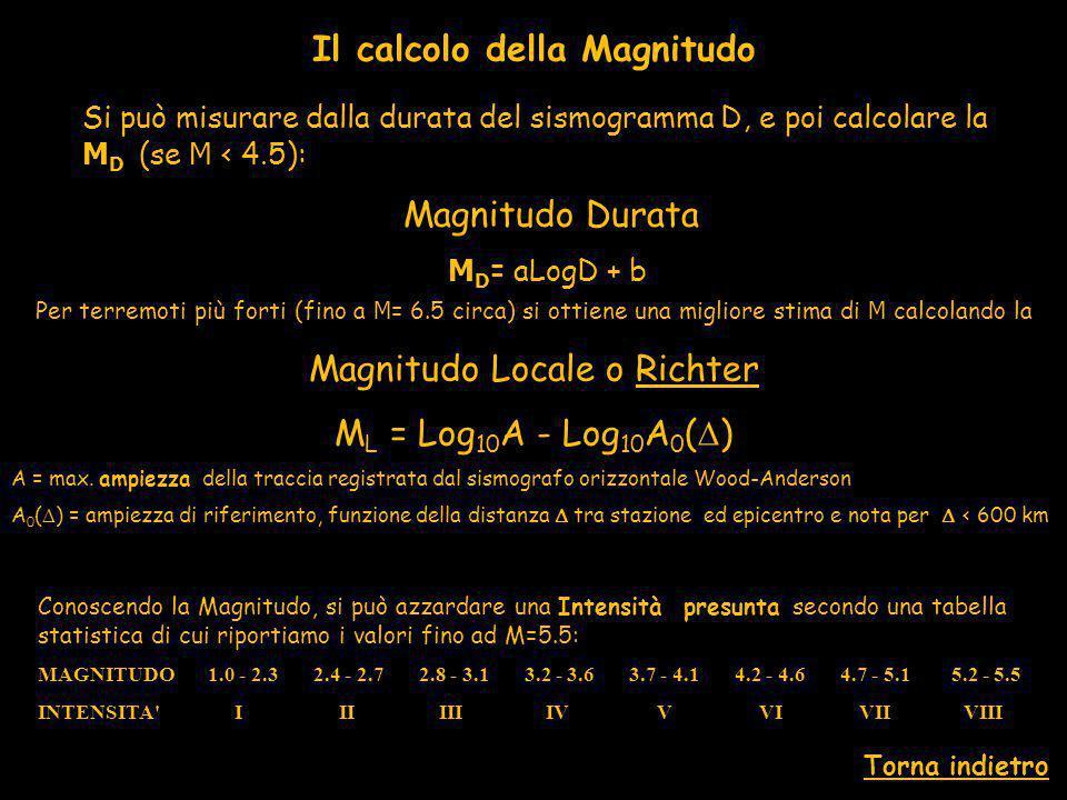Per terremoti più forti (fino a M = 6.5 circa) si ottiene una migliore stima di M calcolando la Magnitudo Locale o Richter M L = Log 10 A - Log 10 A 0