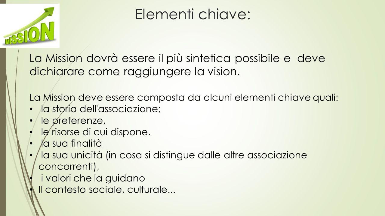 Elementi chiave: La Mission dovrà essere il più sintetica possibile e deve dichiarare come raggiungere la vision.