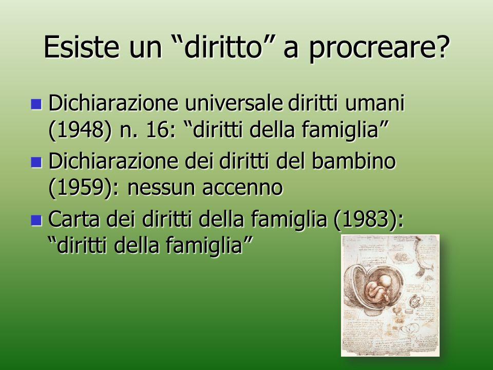 """Esiste un """"diritto"""" a procreare? Dichiarazione universale diritti umani (1948) n. 16: """"diritti della famiglia"""" Dichiarazione universale diritti umani"""