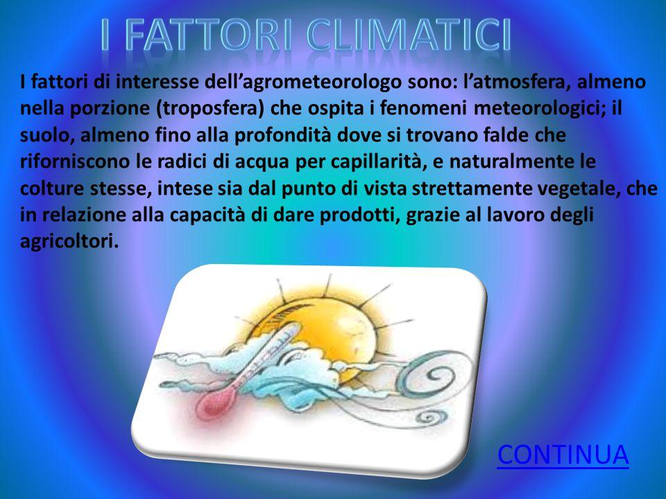I fattori di interesse dell'agrometeorologo sono: l'atmosfera, almeno nella porzione (troposfera) che ospita i fenomeni meteorologici; il suolo, almen