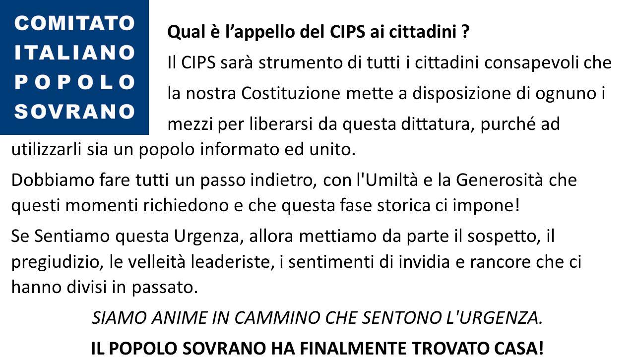 Qual è l'appello del CIPS ai cittadini .