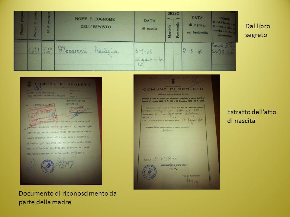 Dal libro segreto Documento di riconoscimento da parte della madre Estratto dell'atto di nascita