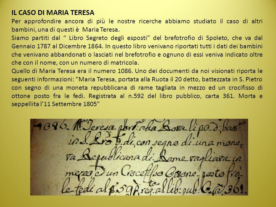 IL CASO DI MARIA TERESA Per approfondire ancora di più le nostre ricerche abbiamo studiato il caso di altri bambini, una di questi è Maria Teresa. Sia