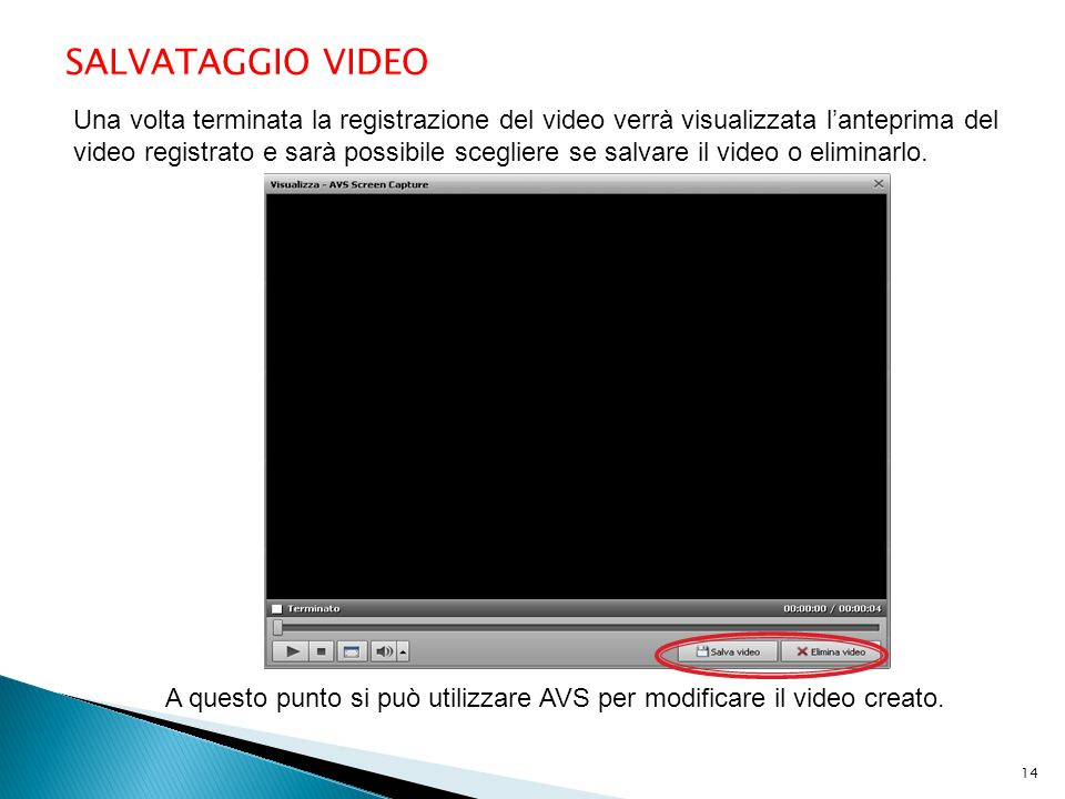 SALVATAGGIO VIDEO Una volta terminata la registrazione del video verrà visualizzata l'anteprima del video registrato e sarà possibile scegliere se salvare il video o eliminarlo.